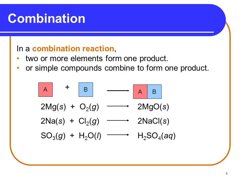 4 Combination In a combination reaction, two or more elements form one product.