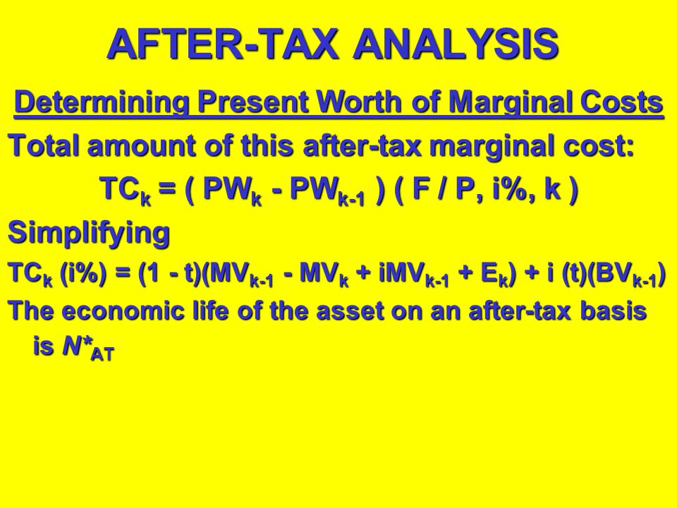 AFTER-TAX ANALYSIS Extending the Before-Tax Analysis equation to account for income tax effects:Extending the Before-Tax Analysis equation to account