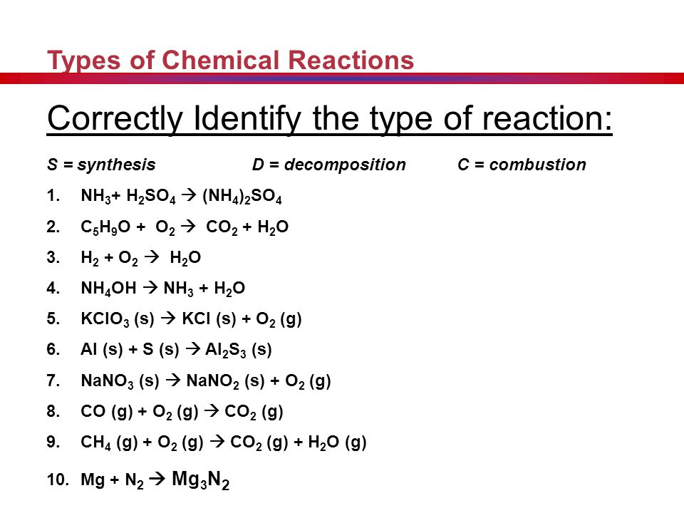 Decomposition Reactions Other: Decomposition reactions often require an energy source, such as heat, light, or electricity, to occur. General Equation