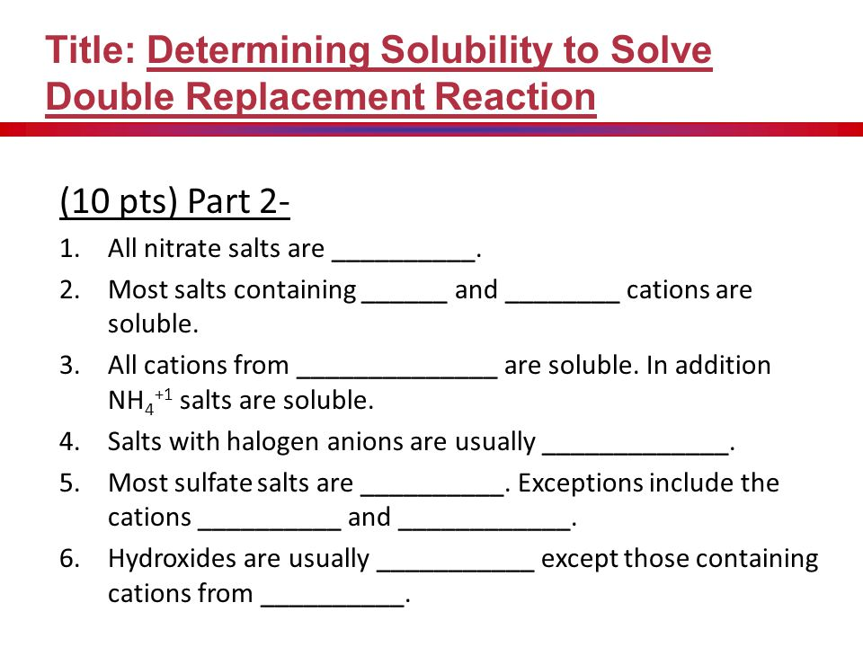 (10 pts) Data Table and Results Title: Determining Solubility to Solve Double Replacement Reaction Beginning Nitrate HCl added H 2 SO 4 added NaOH add