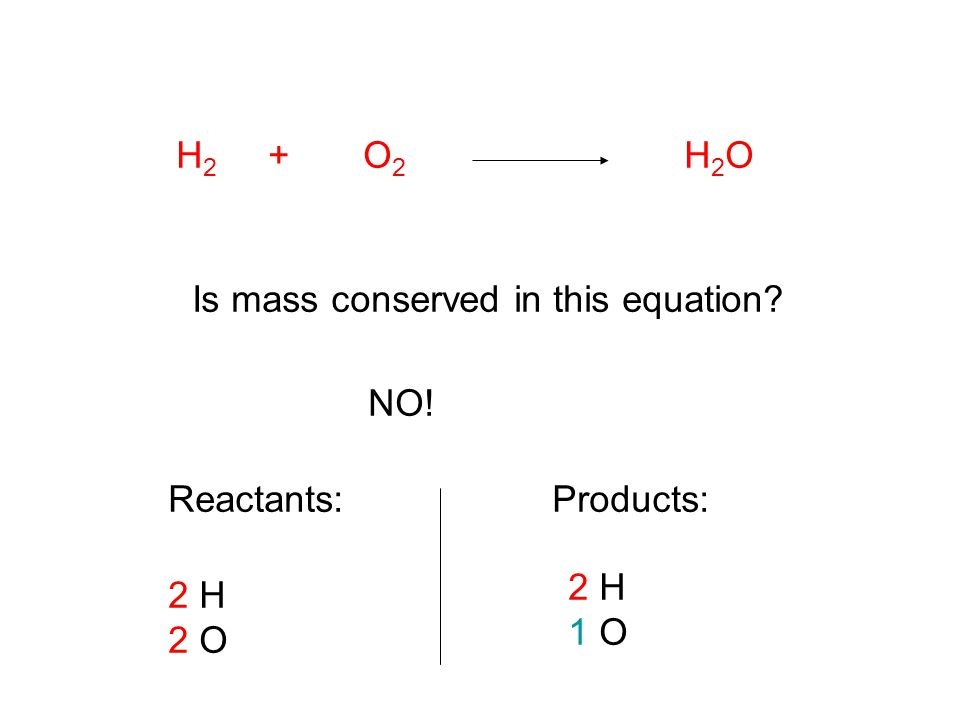 H 2 + O 2 H 2 O Is mass conserved in this equation? NO! Reactants: 2 H 2 O Products: 2 H 1 O