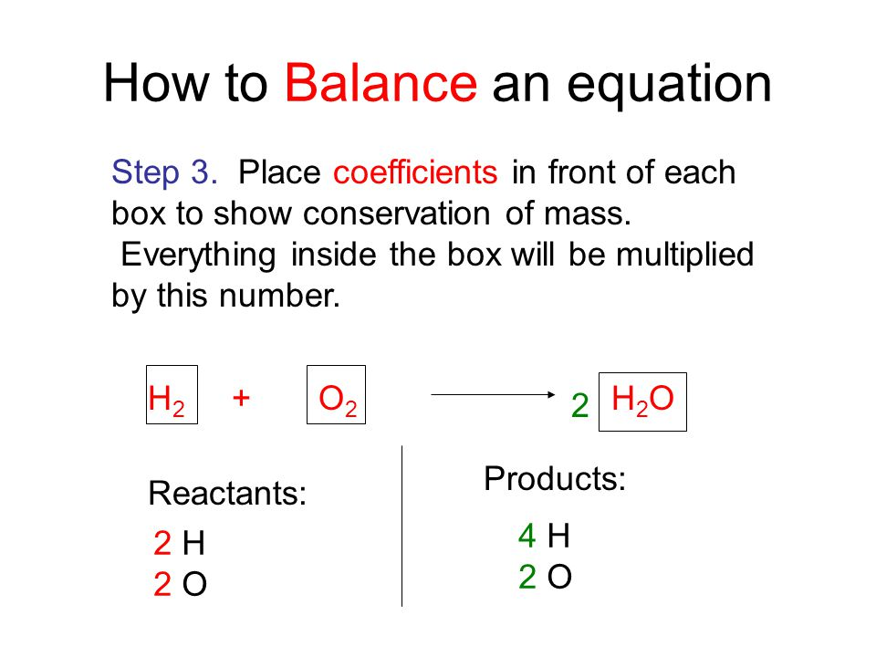 H 2 + O 2 H 2 O Reactants: 2 H 2 O Products: 4 H 2 O How to Balance an equation Step 3. Place coefficients in front of each box to show conservation o