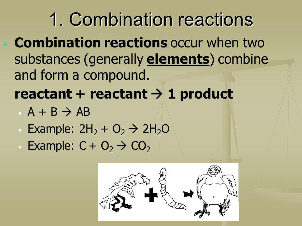 1. Combination reactions Combination reactions occur when two substances (generally elements) combine and form a compound. reactant + reactant 1 produ