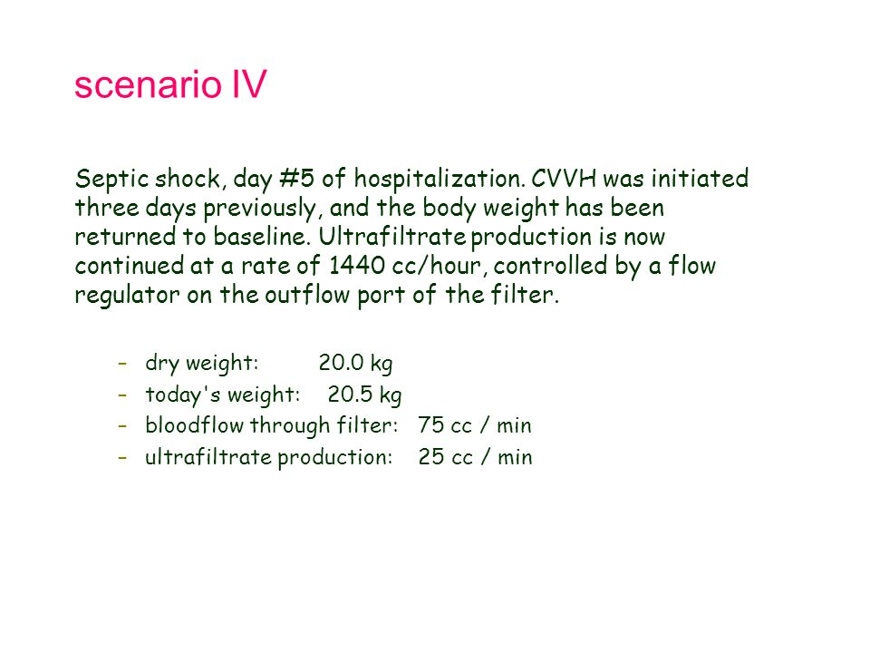 scenario IV Septic shock, day #5 of hospitalization. CVVH was initiated three days previously, and the body weight has been returned to baseline. Ultr