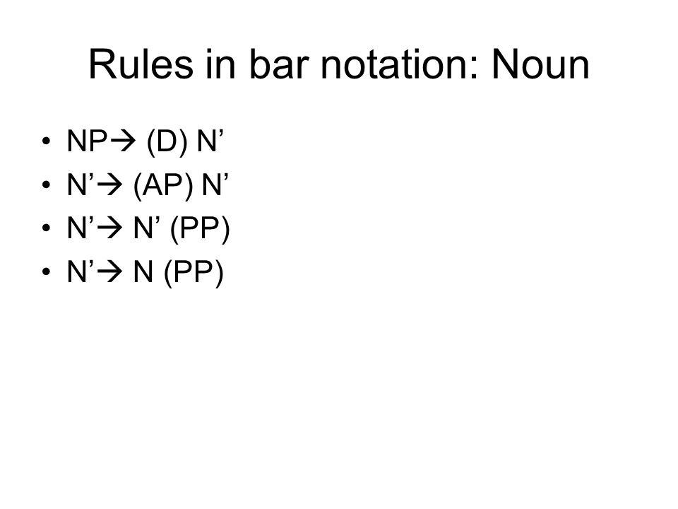 Rules in bar notation: Noun NP (D) N N (AP) N N N (PP)