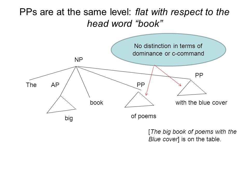 PPs are at the same level: flat with respect to the head word book NP PPAP big The of poems with the blue cover [The big book of poems with the Blue c
