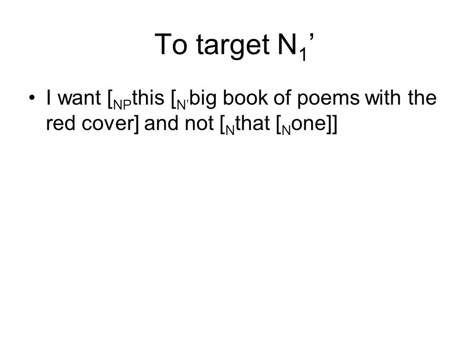 To target N 1 I want [ NP this [ N big book of poems with the red cover] and not [ N that [ N one]]