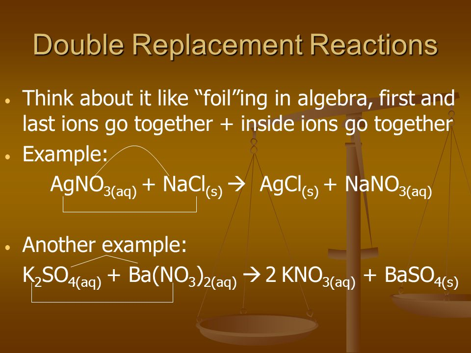 Double Replacement Reactions Think about it like foiling in algebra, first and last ions go together + inside ions go together Example: AgNO 3(aq) + NaCl (s) AgCl (s) + NaNO 3(aq) Another example: K 2 SO 4(aq) + Ba(NO 3 ) 2(aq) KNO 3(aq) + BaSO 4(s) 2