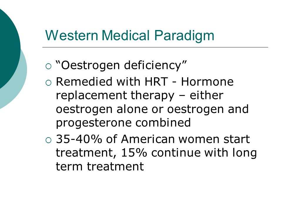 Western Medical Paradigm Oestrogen deficiency Remedied with HRT - Hormone replacement therapy – either oestrogen alone or oestrogen and progesterone combined 35-40% of American women start treatment, 15% continue with long term treatment