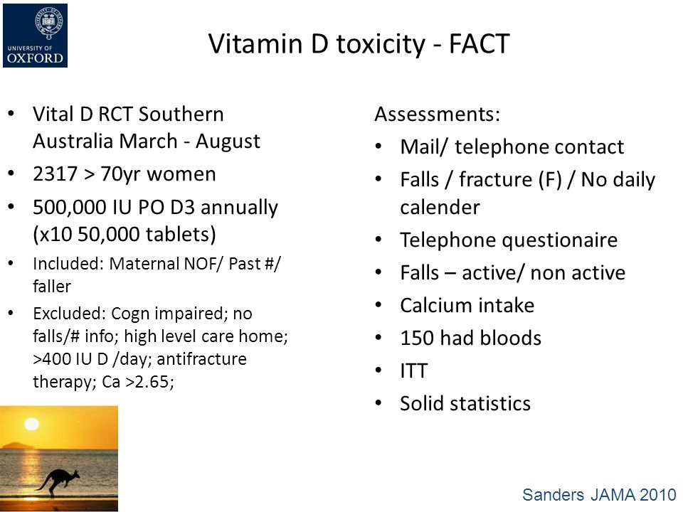 Vitamin D toxicity - FACT Vital D RCT Southern Australia March - August 2317 > 70yr women 500,000 IU PO D3 annually (x10 50,000 tablets) Included: Mat