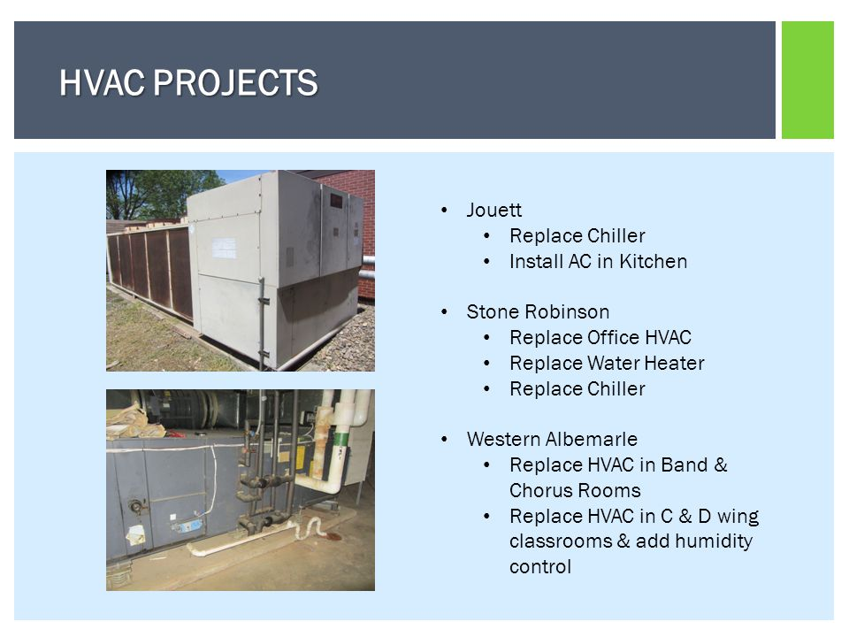 Jouett Replace Chiller Install AC in Kitchen Stone Robinson Replace Office HVAC Replace Water Heater Replace Chiller Western Albemarle Replace HVAC in Band & Chorus Rooms Replace HVAC in C & D wing classrooms & add humidity control HVAC PROJECTS
