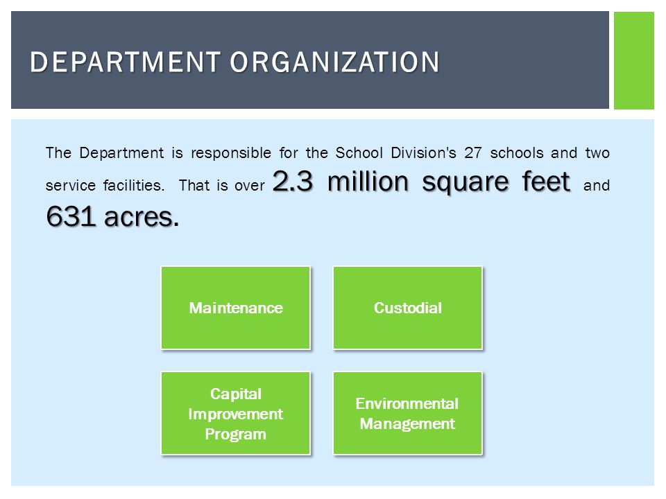 DEPARTMENT ORGANIZATION Capital Improvement Program Capital Improvement Program Maintenance Custodial Environmental Management 2.3 millionsquare feet 631 acres The Department is responsible for the School Division s 27 schools and two service facilities.