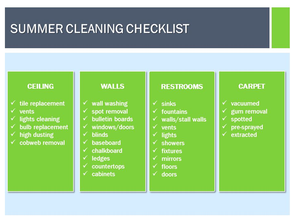 SUMMER CLEANING CHECKLIST CEILING tile replacement vents lights cleaning bulb replacement high dusting cobweb removal CEILING tile replacement vents lights cleaning bulb replacement high dusting cobweb removal WALLS wall washing spot removal bulletin boards windows/doors blinds baseboard chalkboard ledges countertops cabinets WALLS wall washing spot removal bulletin boards windows/doors blinds baseboard chalkboard ledges countertops cabinets RESTROOMS sinks fountains walls/stall walls vents lights showers fixtures mirrors floors doors RESTROOMS sinks fountains walls/stall walls vents lights showers fixtures mirrors floors doors CARPET vacuumed gum removal spotted pre-sprayed extracted CARPET vacuumed gum removal spotted pre-sprayed extracted