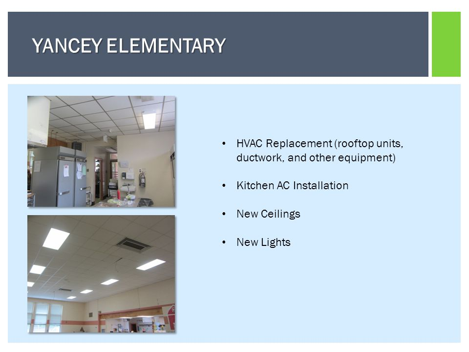 HVAC Replacement (rooftop units, ductwork, and other equipment) Kitchen AC Installation New Ceilings New Lights YANCEY ELEMENTARY