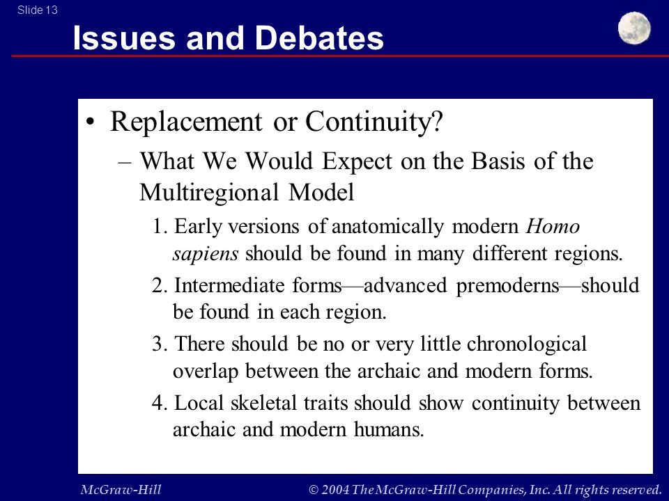 McGraw-Hill© 2004 The McGraw-Hill Companies, Inc. All rights reserved. Slide 13 Issues and Debates Replacement or Continuity? –What We Would Expect on
