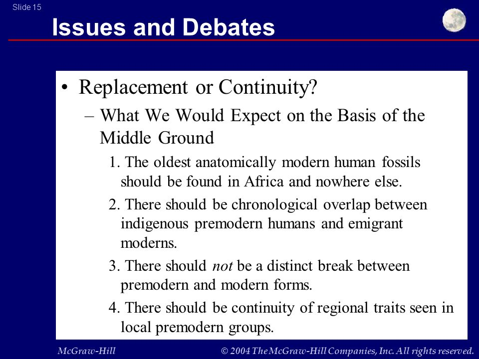McGraw-Hill© 2004 The McGraw-Hill Companies, Inc. All rights reserved. Slide 15 Issues and Debates Replacement or Continuity? –What We Would Expect on