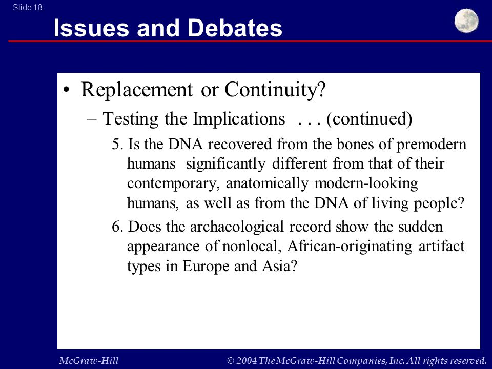McGraw-Hill© 2004 The McGraw-Hill Companies, Inc. All rights reserved. Slide 18 Issues and Debates Replacement or Continuity? –Testing the Implication