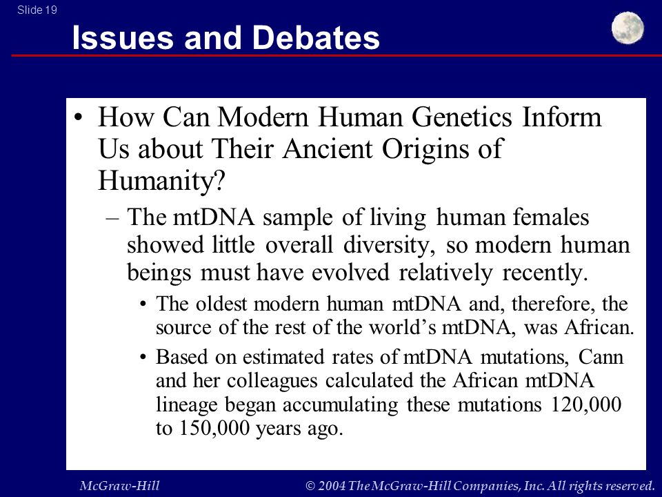 McGraw-Hill© 2004 The McGraw-Hill Companies, Inc. All rights reserved. Slide 19 Issues and Debates How Can Modern Human Genetics Inform Us about Their