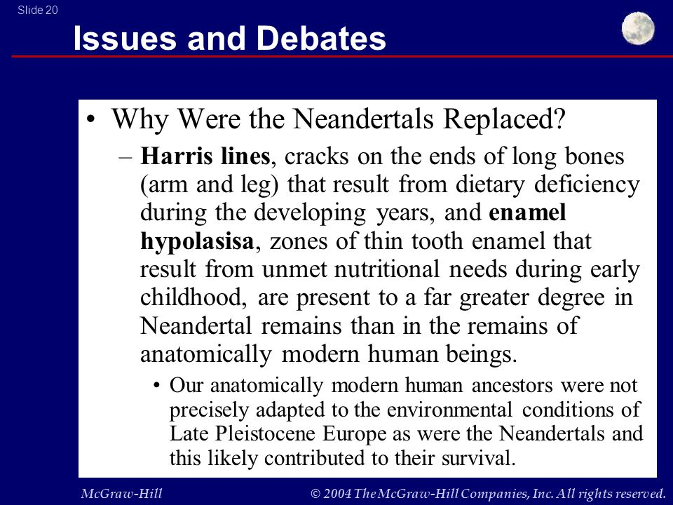 McGraw-Hill© 2004 The McGraw-Hill Companies, Inc. All rights reserved. Slide 20 Issues and Debates Why Were the Neandertals Replaced? –Harris lines, c