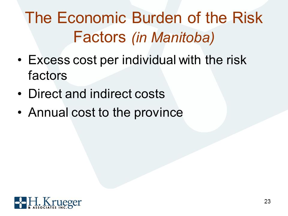 The Economic Burden of the Risk Factors (in Manitoba) Excess cost per individual with the risk factors Direct and indirect costs Annual cost to the province 23