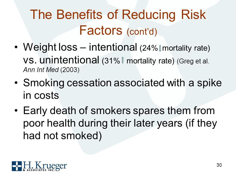 The Benefits of Reducing Risk Factors (contd) Weight loss – intentional (24% mortality rate) vs.