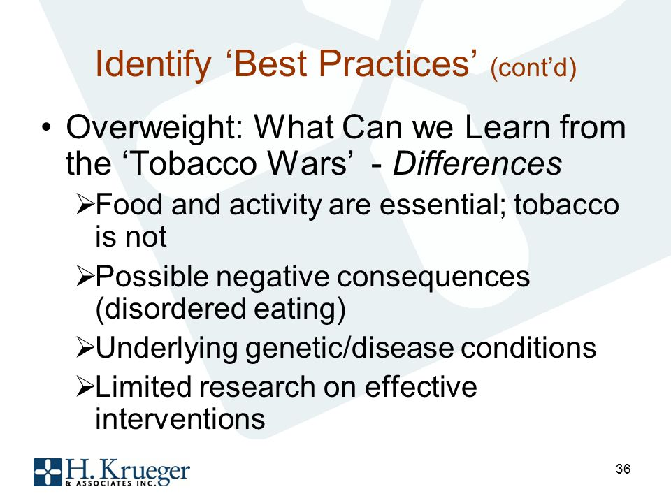 Identify Best Practices (contd) Overweight: What Can we Learn from the Tobacco Wars - Differences Food and activity are essential; tobacco is not Possible negative consequences (disordered eating) Underlying genetic/disease conditions Limited research on effective interventions 36