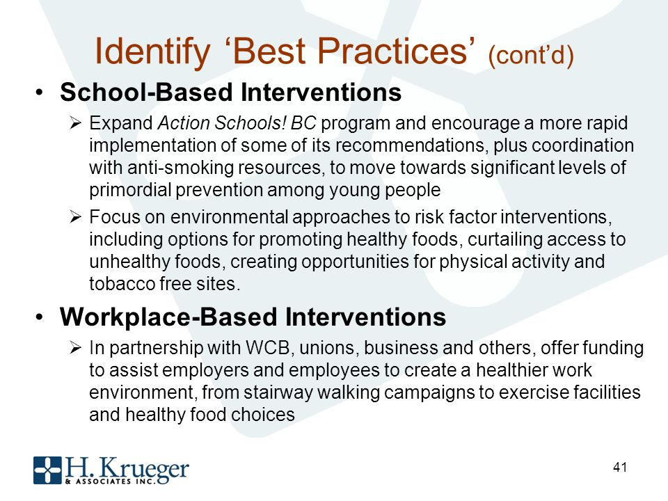 Identify Best Practices (contd) School-Based Interventions Expand Action Schools.
