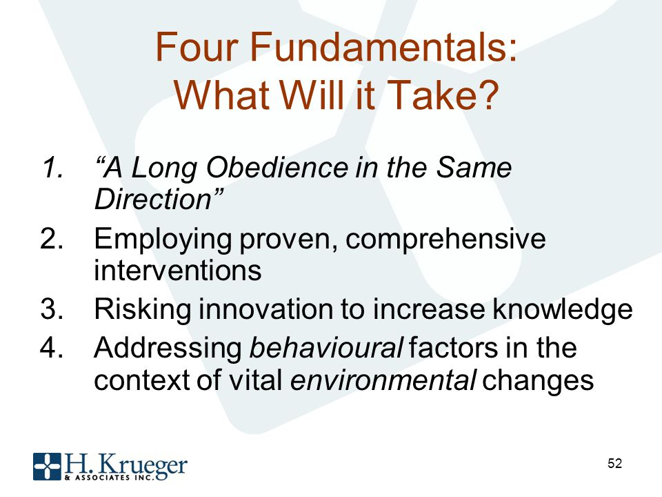 Four Fundamentals: What Will it Take.