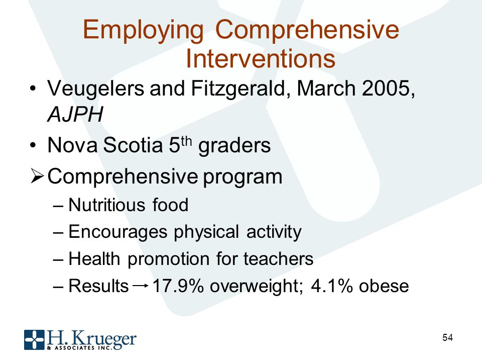 Employing Comprehensive Interventions Veugelers and Fitzgerald, March 2005, AJPH Nova Scotia 5 th graders Comprehensive program –Nutritious food –Encourages physical activity –Health promotion for teachers –Results 17.9% overweight; 4.1% obese 54