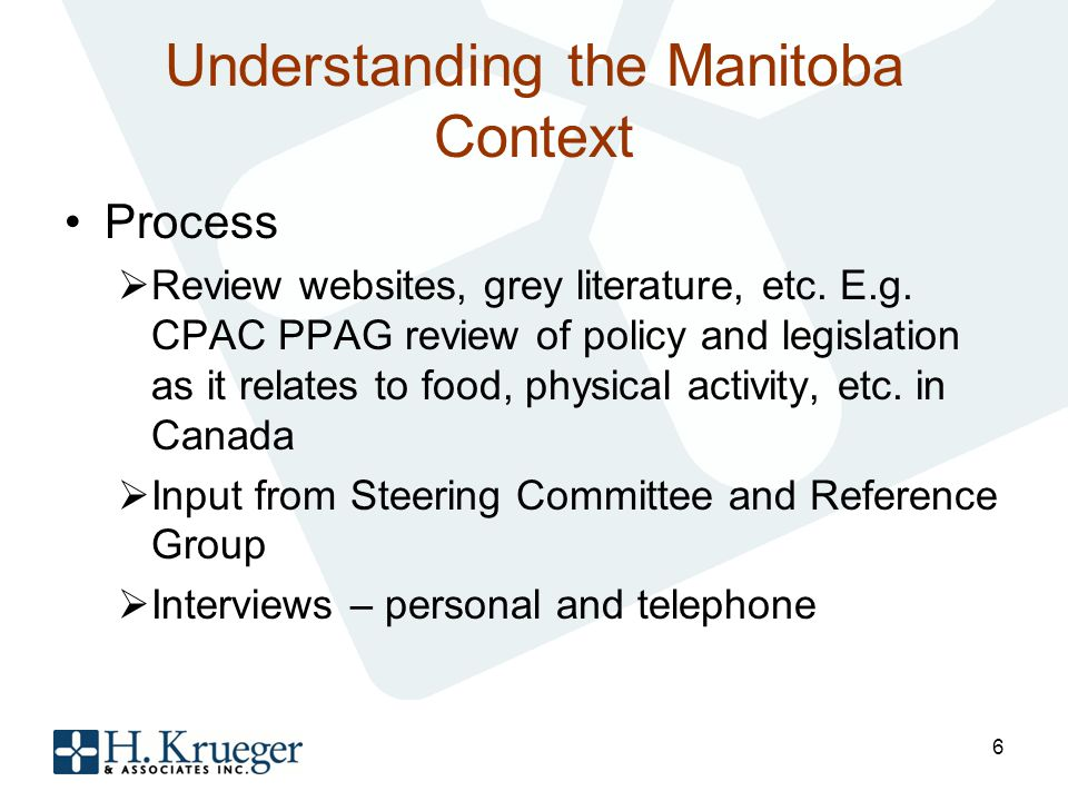 Understanding the Manitoba Context Process Review websites, grey literature, etc.