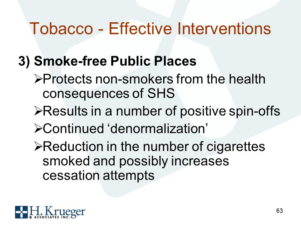 Tobacco - Effective Interventions 3) Smoke-free Public Places Protects non-smokers from the health consequences of SHS Results in a number of positive spin-offs Continued denormalization Reduction in the number of cigarettes smoked and possibly increases cessation attempts 63