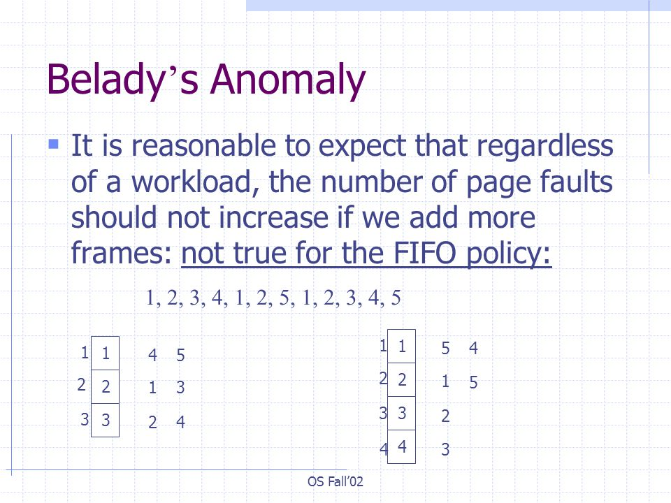 OS Fall02 Belady s Anomaly It is reasonable to expect that regardless of a workload, the number of page faults should not increase if we add more fram
