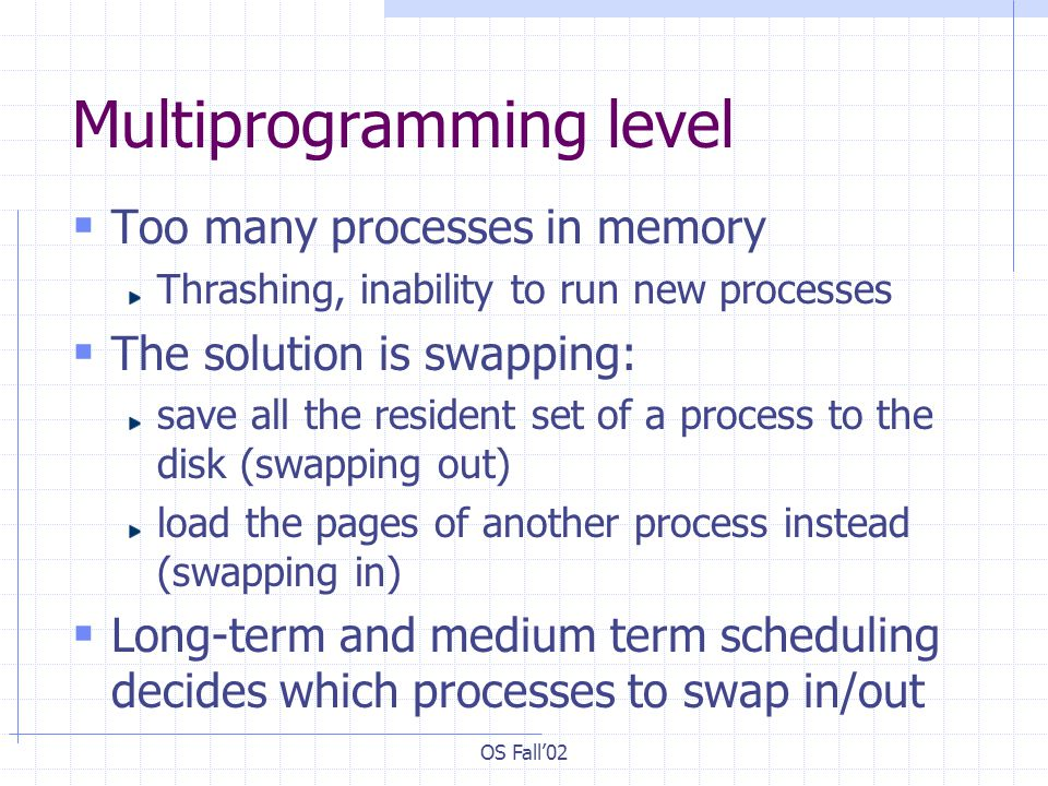 OS Fall02 Multiprogramming level Too many processes in memory Thrashing, inability to run new processes The solution is swapping: save all the residen