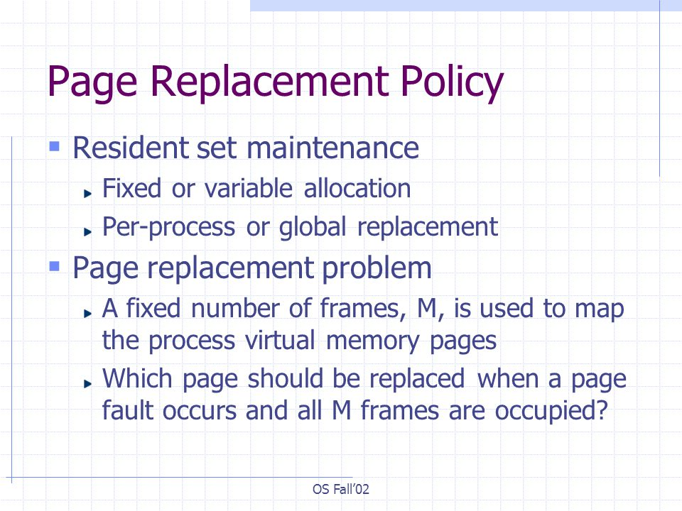 OS Fall02 Page Replacement Policy Resident set maintenance Fixed or variable allocation Per-process or global replacement Page replacement problem A f
