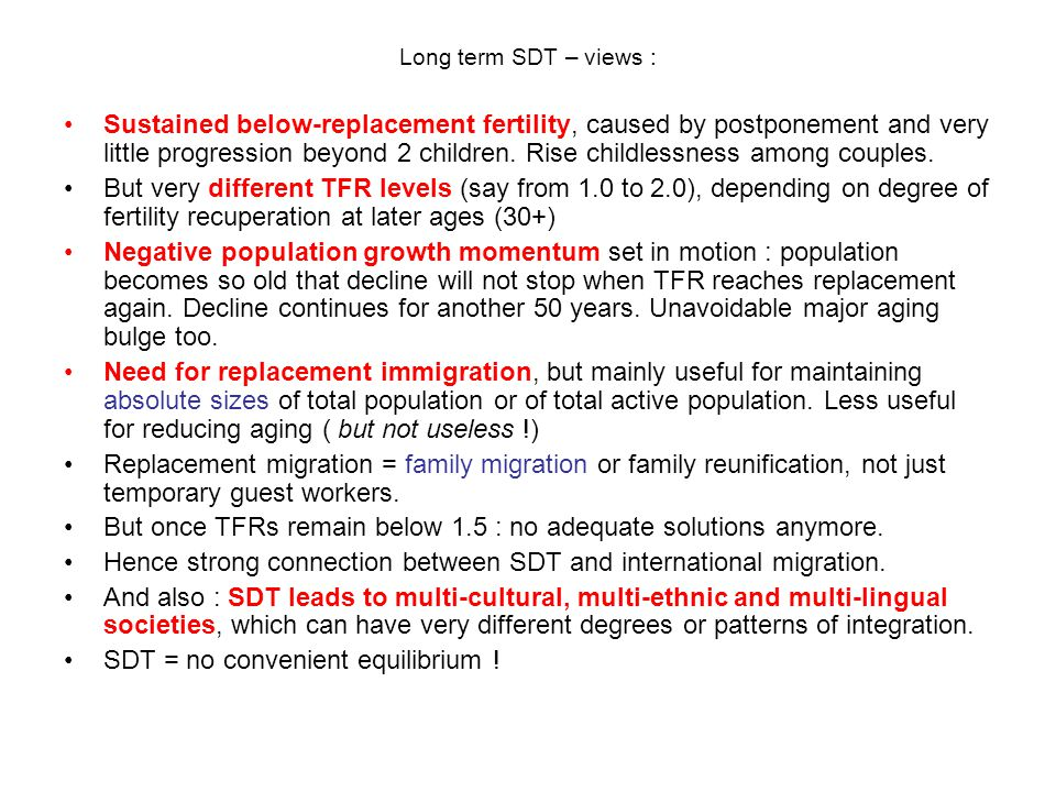 Long term SDT – views : Sustained below-replacement fertility, caused by postponement and very little progression beyond 2 children.