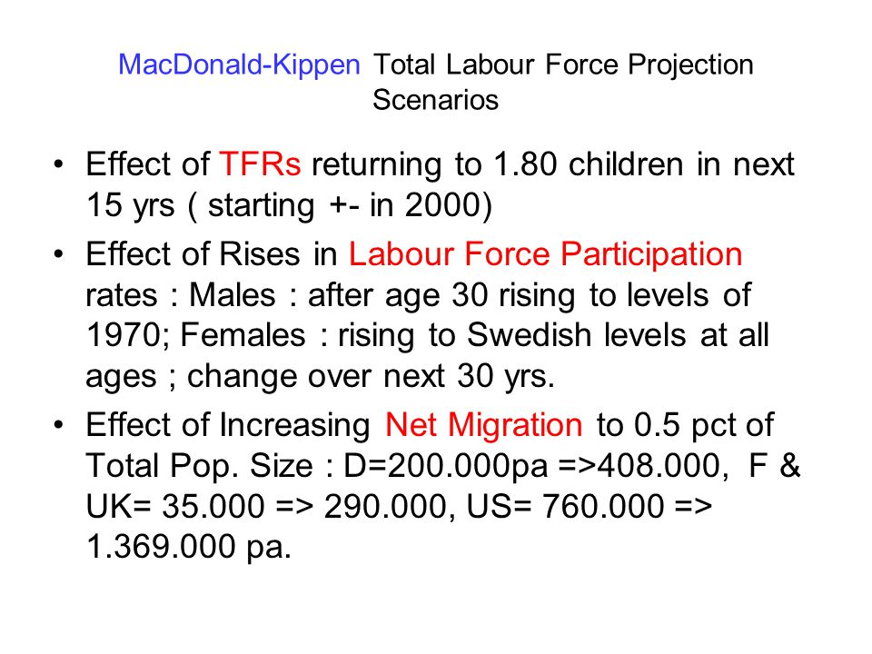 MacDonald-Kippen Total Labour Force Projection Scenarios Effect of TFRs returning to 1.80 children in next 15 yrs ( starting +- in 2000) Effect of Rises in Labour Force Participation rates : Males : after age 30 rising to levels of 1970; Females : rising to Swedish levels at all ages ; change over next 30 yrs.