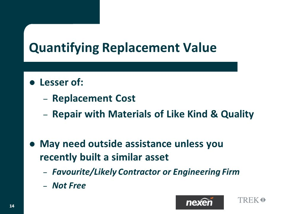 Quantifying Replacement Value Lesser of: – Replacement Cost – Repair with Materials of Like Kind & Quality May need outside assistance unless you recently built a similar asset – Favourite/Likely Contractor or Engineering Firm – Not Free 14