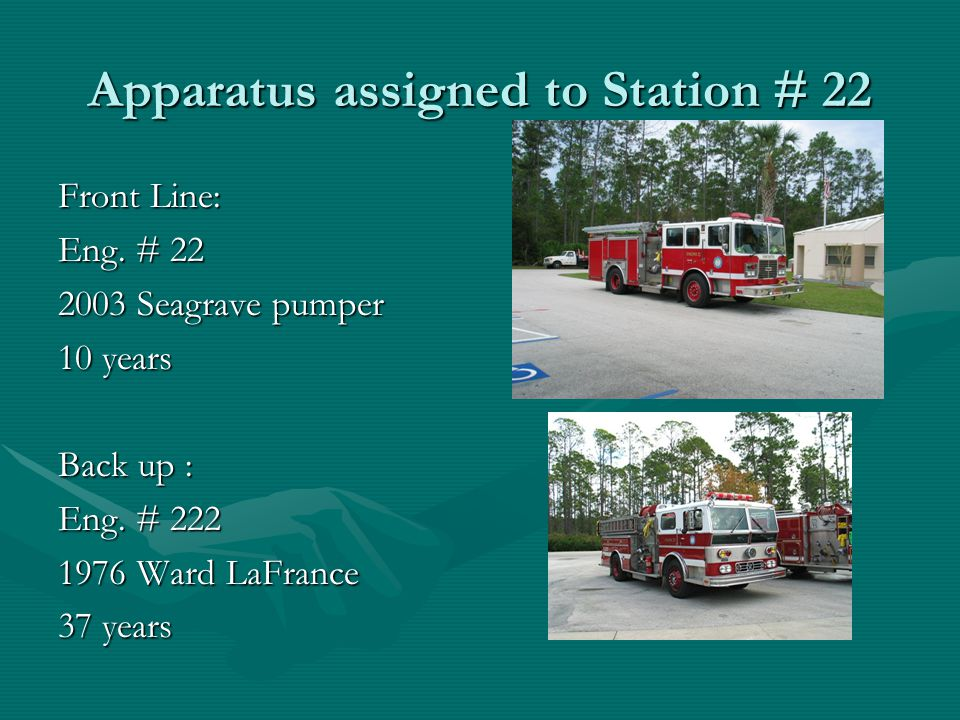 Apparatus assigned to Station # 23 Front Line: Eng. 23 2011 Pierce 2 years