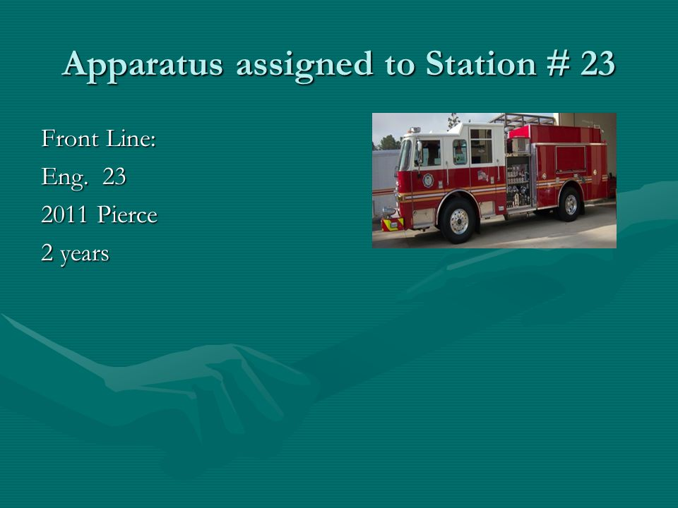 Apparatus assigned to Station # 24 Front Line: Eng.