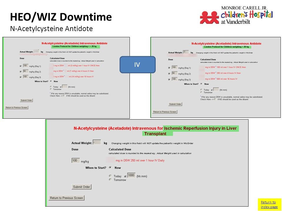 HEO/WIZ Downtime N-Acetylcysteine Antidote IV Return to index page