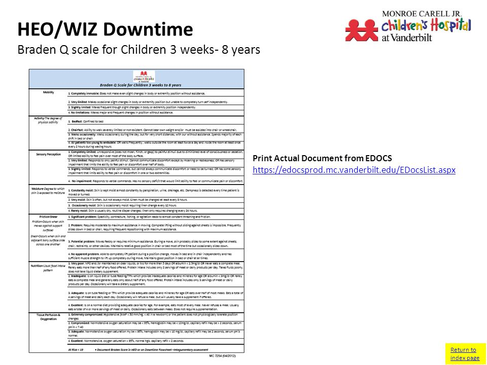 HEO/WIZ Downtime Braden Q scale for Children 3 weeks- 8 years Return to index page Print Actual Document from EDOCS
