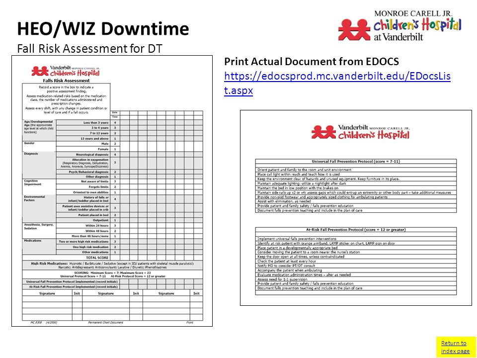 HEO/WIZ Downtime Fall Risk Assessment for DT Return to index page Print Actual Document from EDOCS   t.aspx