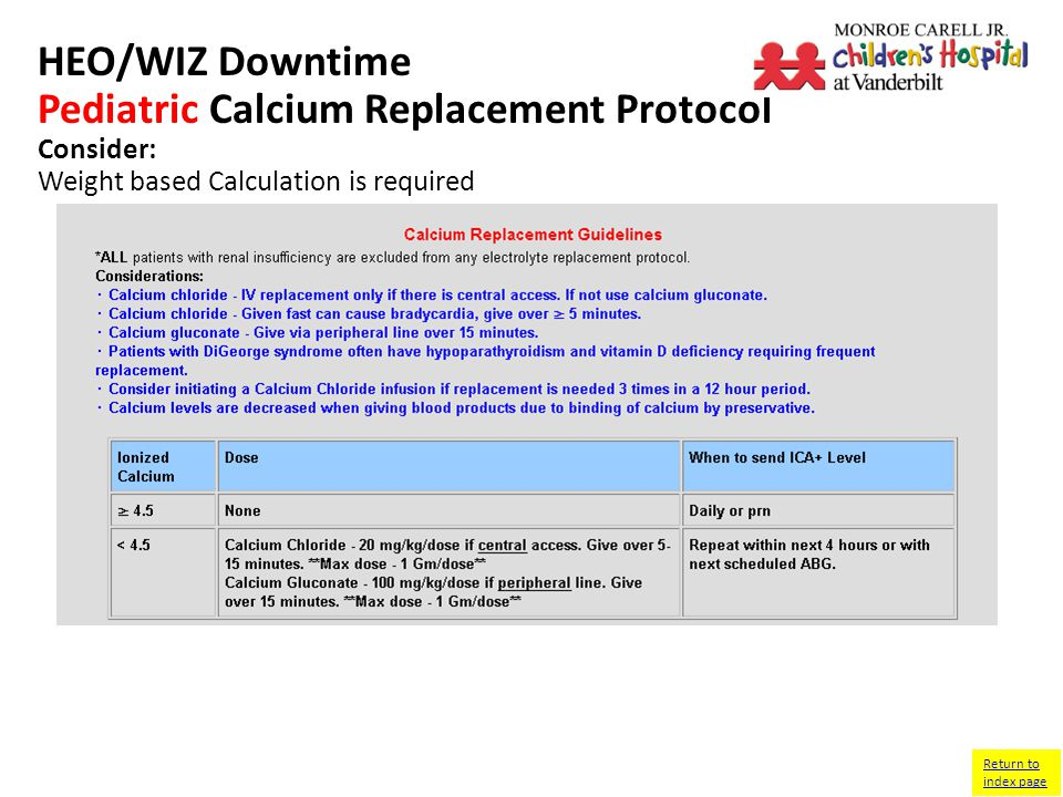 HEO/WIZ Downtime Pediatric Calcium Replacement Protocol Consider: Weight based Calculation is required Return to index page