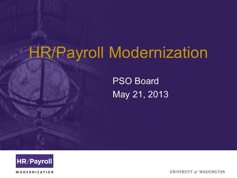 HR/Payroll Modernization PSO Board May 21, 2013