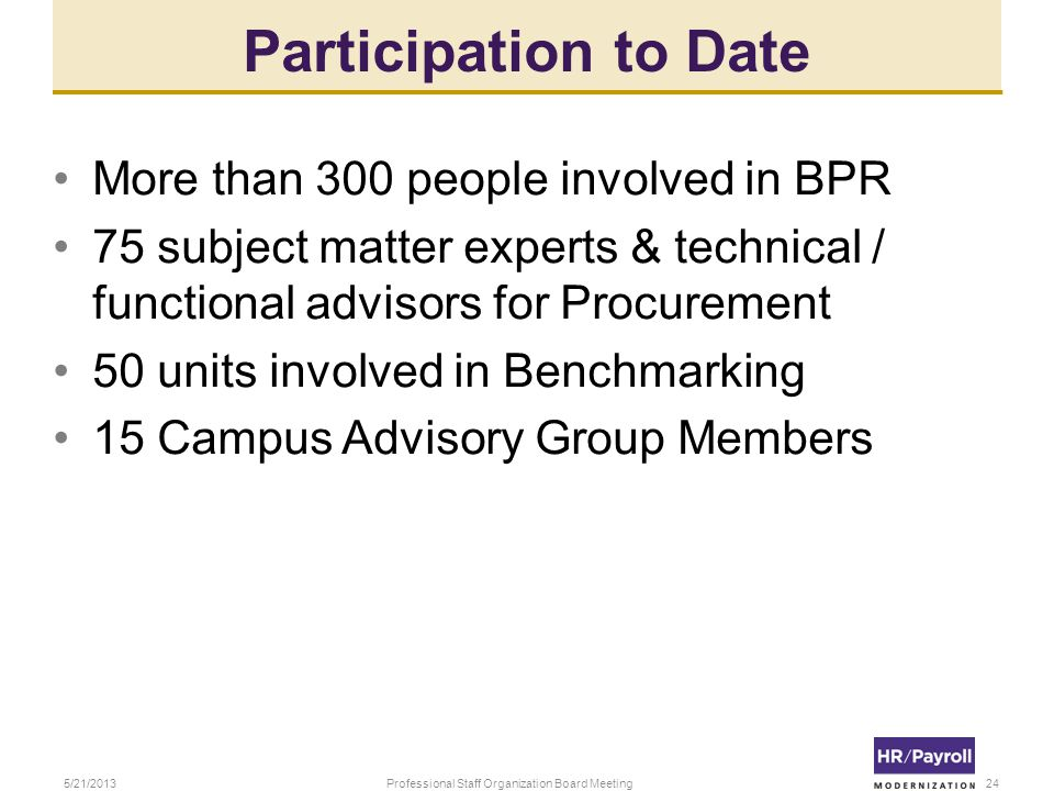 Participation to Date More than 300 people involved in BPR 75 subject matter experts & technical / functional advisors for Procurement 50 units involved in Benchmarking 15 Campus Advisory Group Members 5/21/2013Professional Staff Organization Board Meeting24