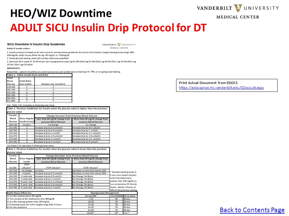 Back to Contents Page HEO/WIZ Downtime ADULT SICU Insulin Drip Protocol for DT Print Actual Document from EDOCS https://edocsprod.mc.vanderbilt.edu/ED
