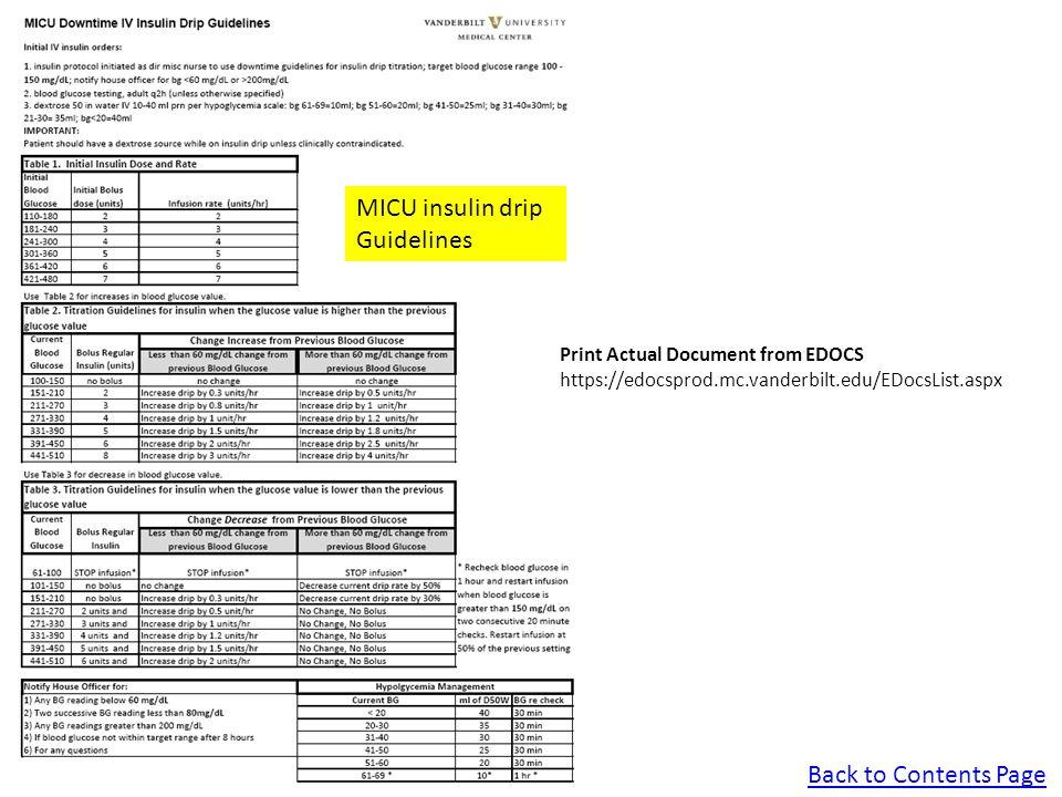 Back to Contents Page MICU insulin drip Guidelines Print Actual Document from EDOCS https://edocsprod.mc.vanderbilt.edu/EDocsList.aspx