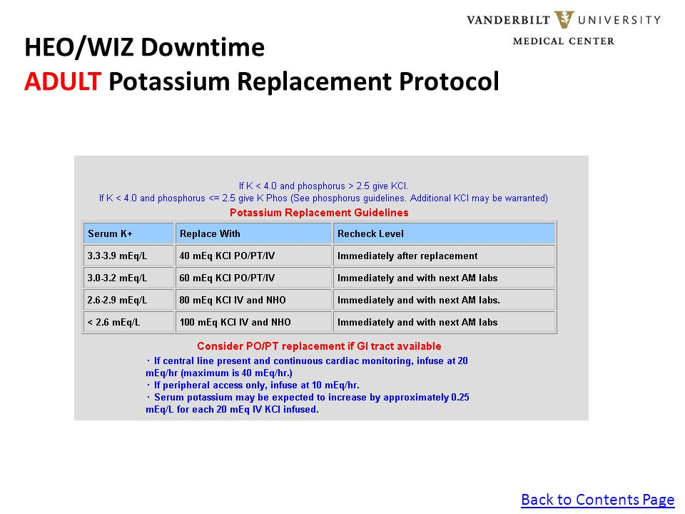Back to Contents Page HEO/WIZ Downtime ADULT Calcium Replacement Protocol