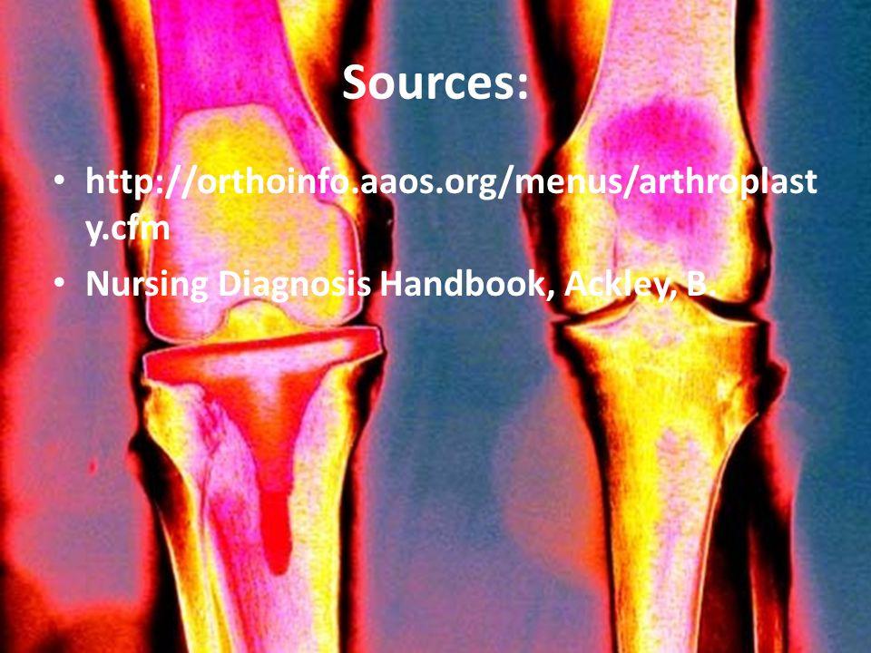 Sources: http://orthoinfo.aaos.org/menus/arthroplast y.cfm Nursing Diagnosis Handbook, Ackley, B.