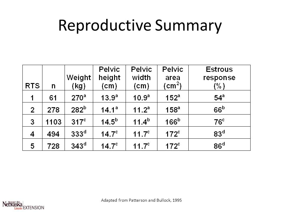 Adapted from Patterson and Bullock, 1995 Reproductive Summary